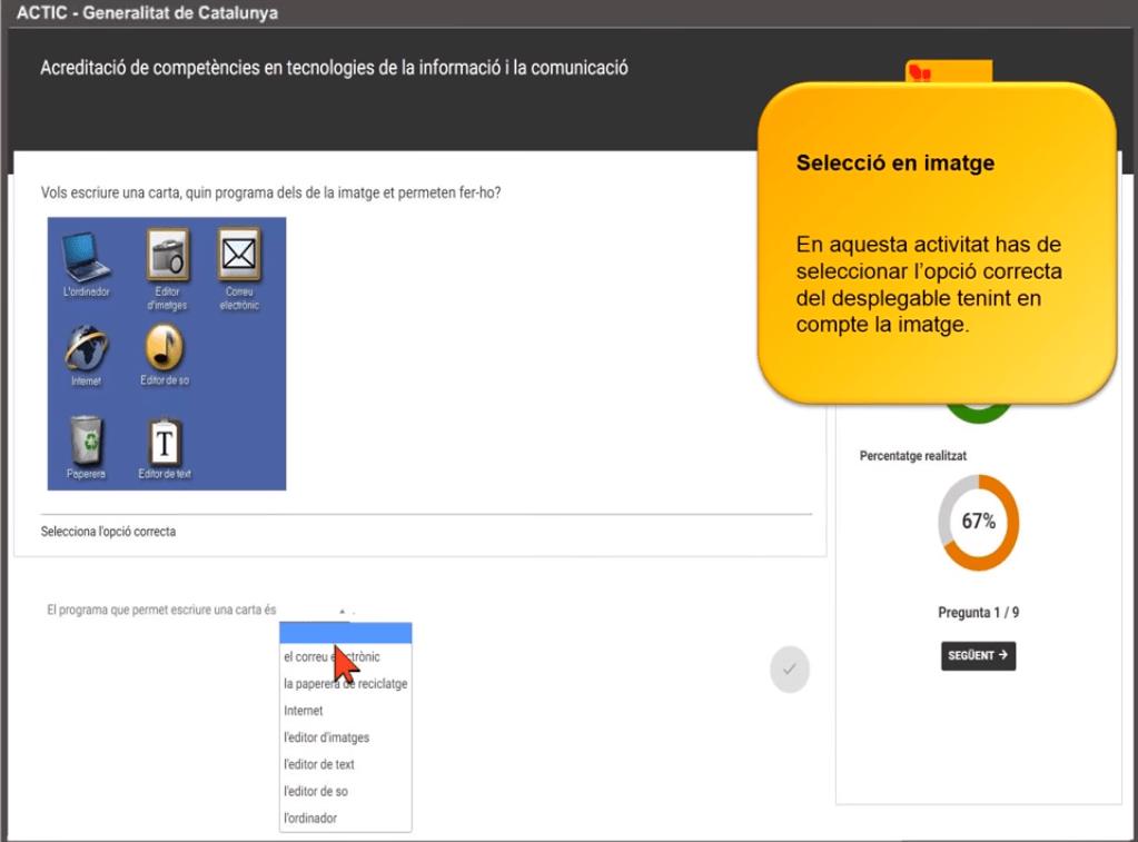 examen actic - Selecció d'imatge - Has de seleccionar l'opció correcta del desplegable tenint en compte la imatge